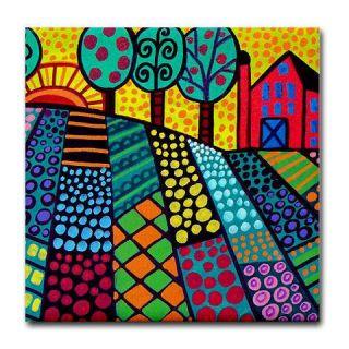 Landscape Folk Art Tile Ceramic Coaster Flowers Tree Art Red Barn