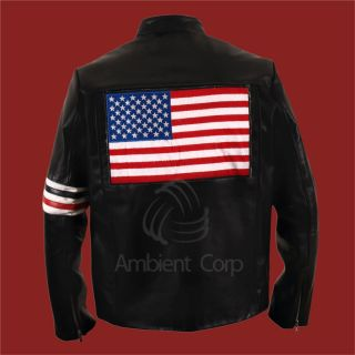America Easy Rider Leather Jacket as worn by Peter Fonda with US Flag