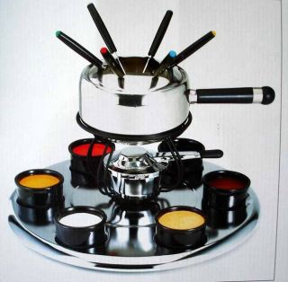 STAINLESS STEEL FONDUE SET W/ ROTATING LAZY SUSAN FORKS & CERAMIC