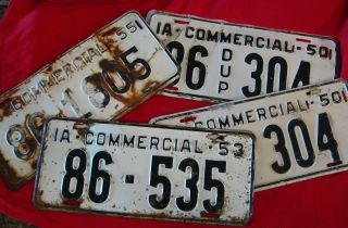 STATE OF IOWA COMMERICIAL LICENSE PLATE SET of 4 VINTAGE RUSTIC PLATES