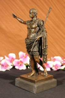12Signed Bronze Statue Gaius Julius Caesar Roma King Luck Wing Angel