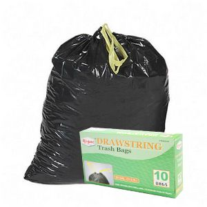 240 30 Gallon Drawstring Black Large Garbage Trash Bags
