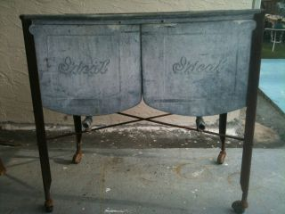 Vintage RARE Ideal Double Galvanized Wash Tubs w Drains