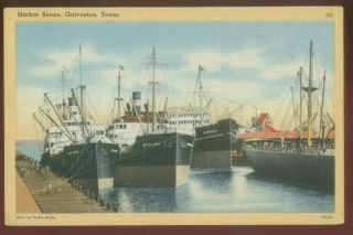070109 Ships in Harbor Galveston Texas TX Vintage Postcard