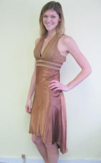 Fredericks of Hollywood Brown Silk Sz 2 Prom Cruise Cocktail Dress