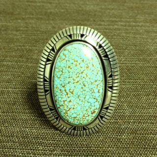 Amazing Huge Navajo Old Pawn Sterling Turquoise Ring Size 13 Signed