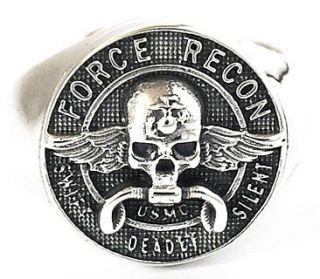 FORCE RECON USMC STERLING 925 SILVER RING Sz 10 U.S. MARINE MILITARY