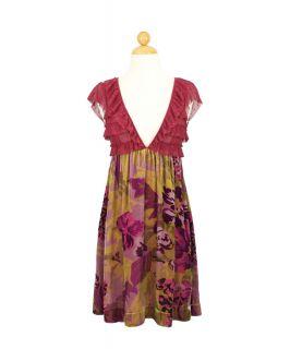 Free People Silk Mesh Vintage Purple Floral Print Ruffled Velvet Dress