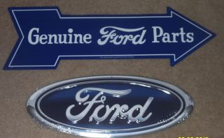 Nostalgic Ford Blue Oval Genuine Parts Tin Sign Set Mustang Fairlane