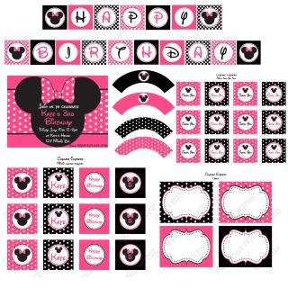 Printable Minnie Mouse Birthday Party Invitation Pink