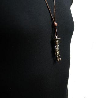 Vintage Pinocchio G Pendant 30 Brown Leather Necklace