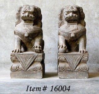 Stone Foo Dog Statue Set Fu Lion Pair Asian Garden 20