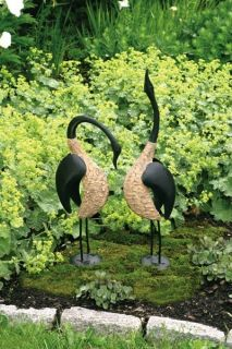 Set 2 Geese Decoy Garden Yard Art Bird Sculptures by Ancient Graffiti