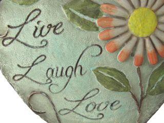 Shaped `Live Laugh Love` Decorative Garden Stone Outdoor Plaque