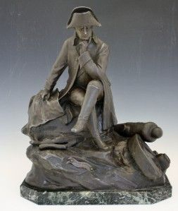 19c French Bronze Patina Figure of Napoleon at The Camp by Lemoyne No