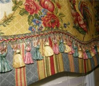 French Country Valance Waverly Fabric Saffron Red Gold Rooster Toile