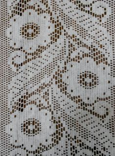 French Vintage Lace Curtain Drape Door Panel Petals Daisy
