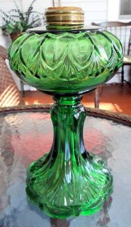 Ornate Antique Green Oil Kerosene Stand Lamp Erin Fan