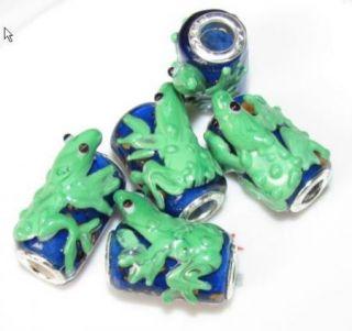 5pcs Silver Glass Frog Beads Fit Charm Bracelet