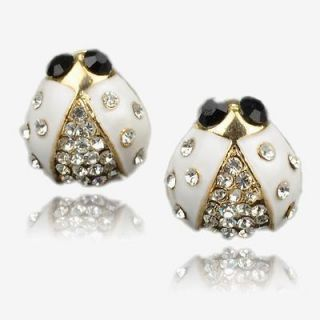 Gallant Ladybird White Gold Plated GP Swarovski Crystal Stud Earrings
