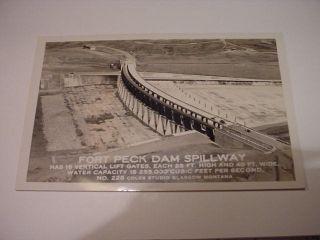 RPPC Fort Peck Dam Spillway Montana MT Postcard