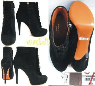 GUCCI black SUEDE fringe YOUMA booties Zipped PLATFORM Ankle boots NIB