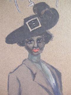 Art Drawing Em Garrison Black Lady in Feather Hat Yqz