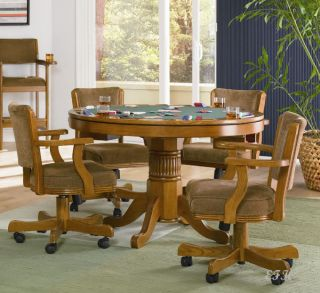3in1 BUMPER POOL POKER OAK FINISH WOOD GAME DINING TABLE SET w/ CHAIRS