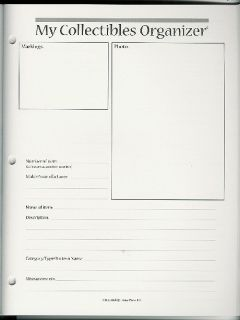 Collectibles Organizer Book Document Your Collections