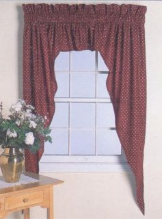 3pc Country Cottage Wine Swag Valance Curtain 84WX63L