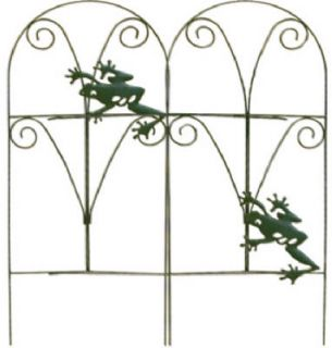 89374 24 x 8 ft Green Folding Frog Garden Border Fence Fencing