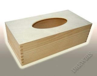 Large Plain Wood Wooden Tissue Box for Craft Decoupage