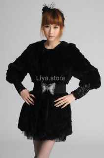 New Womens Ladys Black Real Rex Rabbit Fur Winter Long Warm Coat
