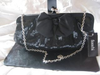 NWT $179 FRANCHI SEQUINED BOW PURSE CLUTCH EVENING BAG BLACK