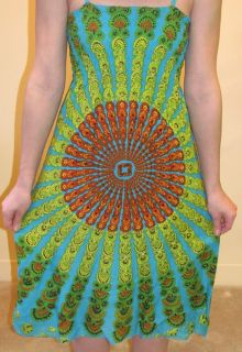 Funky People Sundress Dress Aqua Blue Red Green Small Medium Large XL