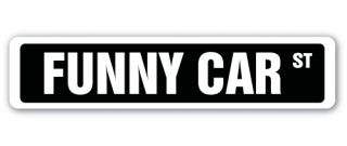 Funny Car Street Sign Race Racer Competition Drag Strip Top Fuel Stock