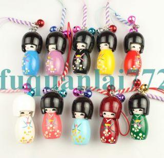 10pcs Japanese Oriental Kokeshi Doll Handbag Charm 880