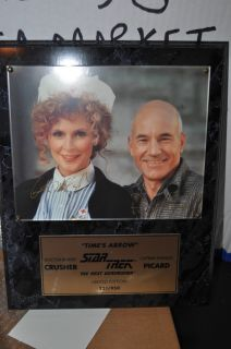 Star Trek Signed Plaque Patrick Stewart Gates McFadden