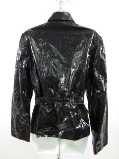People Like Frank Black Vinyl Leather Jacket Coat Sz 10