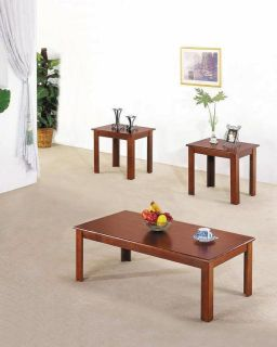 Acme 02163 3 Piece Meridian Coffee End Table Set Cherry Finish