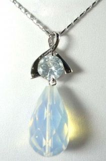Blue Fire Opal Silver Crystal Pendant Necklace G215