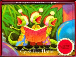 Hawaiian Gecko Choir Christmas Ornament Mele Kalikimaka Cards Waikiki