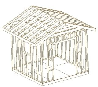 10x10 Gable Roof Outdoor Backyard Utility Shed Plans CD