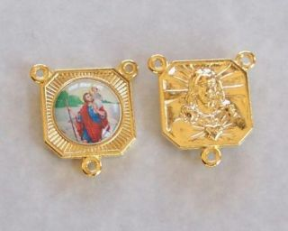 St Saint Christopher Rosary Center Parts Gold E150G