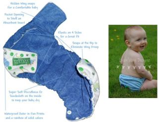 Green Acre Designs Gad PUL Pocket Diaper White w Light Blue