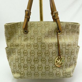 Michael Kors NEW Jet Set Tan / Beige Signature Tote Jacquard Handbag