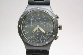New Swatch Men Irony Chrono Gray Coat Aluminum Band Date Watch 40mm
