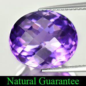 Ct. Natural Gemstone Purple Amethyst Oval Checkerboard Brazil Unheated