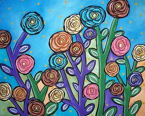 Garden Roses FOLK ART ABSTRACT Colorful Flowers 20x16 ORIGINAL