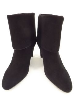 boots black leather Fratelli Rossetti 41 10 M roll cuff stiletto